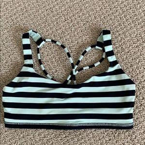 Lululemon Black Mint Striped Sports Bra
